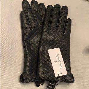 Vera Bradley Black leather gloves NWT
